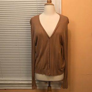 Brown V-neck cardigan